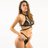 Black Halter Lace Bra Set