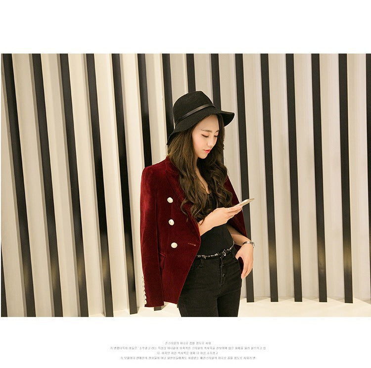 Velvet  Slim Long Sleeve ladies Blazers