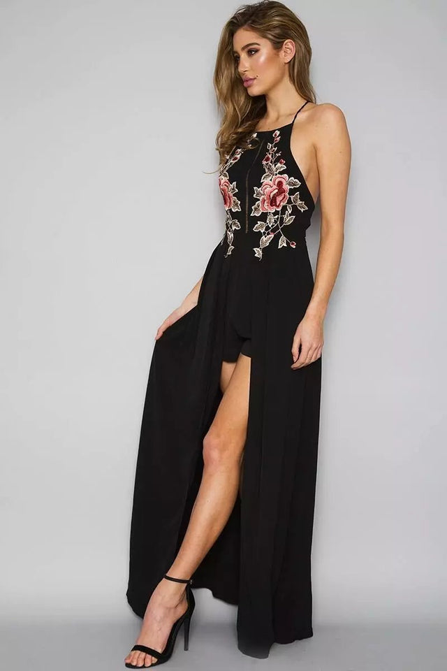 Backless Long Flower Embroidery Dress