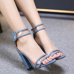 Thick High Heels Transparent  Sandals