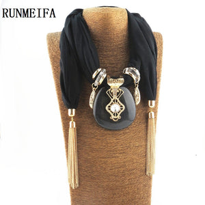 Alloy Square Pendant Scarf Necklace