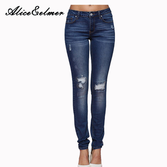 Ripped Mid Waist Skinny Jeans