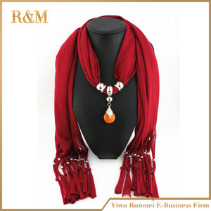 Charm blue stone water drop scarves