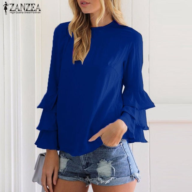 O-Neck Flounce Long Sleeve Top