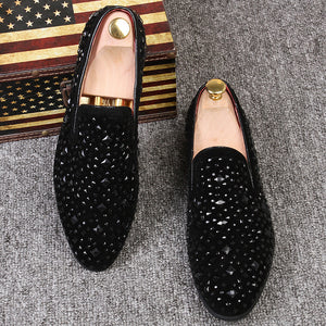 Rhinestones Pointed Loafers