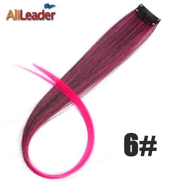 Ombre One Piece Synthetic Straight  Hair Clip