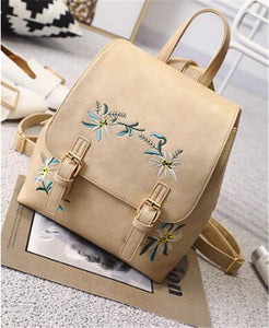 Small Floral Embroidery Backpack