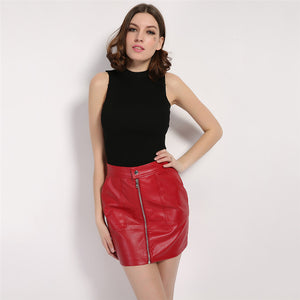 Zipper Up Faux Leather Skirt