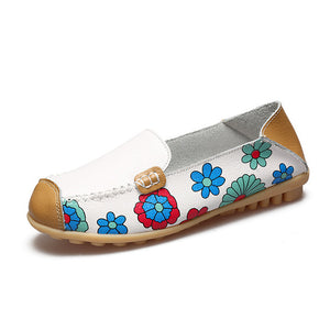 Flower Print Genuine Leather Shoes