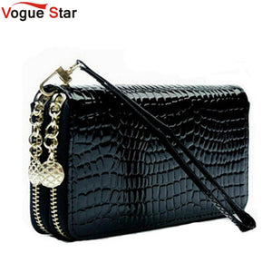 Black Leather Double Zipper Clutch