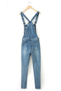 Ripped Pencil Denim Jumpsuits
