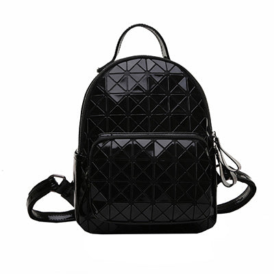 Geometric Plaid Sequin Leather Backpack