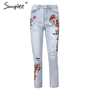 Vintage flower embroidery high waist jeans