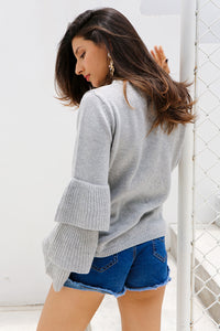 Knitting ruffles sweater