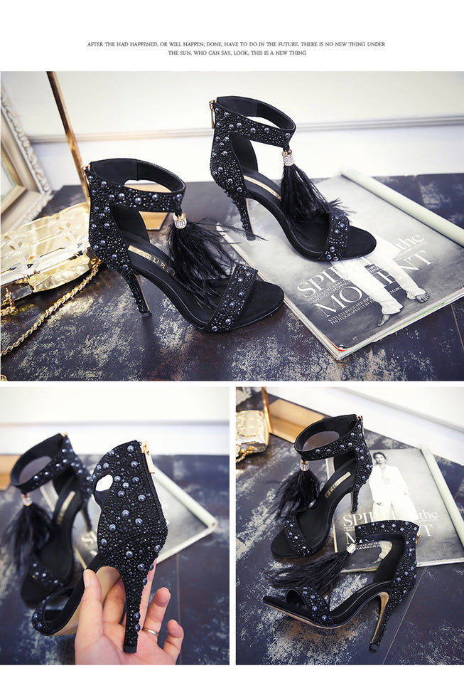 Rhinestone Feather High Heel