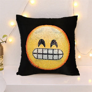 Reversible Sequin emoji  pillow