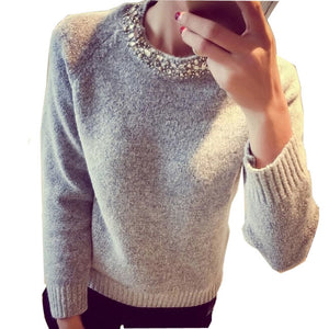 Beading O-Neck Cashmere Sweater