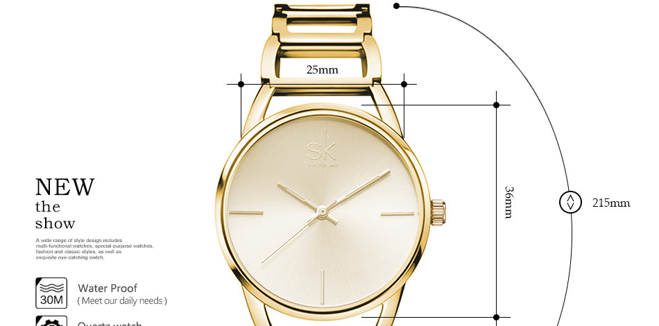 Women  Luxury Gold Watch
