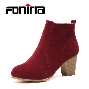 Ankle Square High Heel Boots