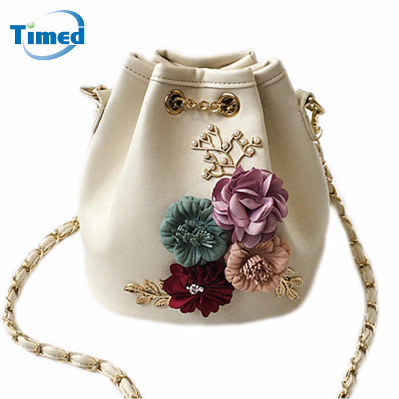 Flowers Bucket Chain Drawstring  Bag
