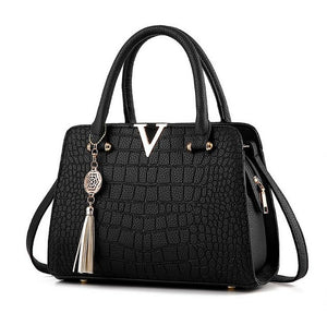 Crocodile leather V letters Handbag