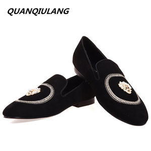 Diamond embroidery Leather Loafers