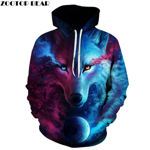 Hot Sale Wolf Printed Hoodies