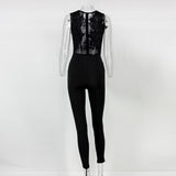 Lace Long Sleeveless back zipper Jumpsuit