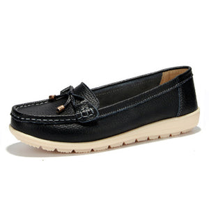 Genuine leather flat loafers