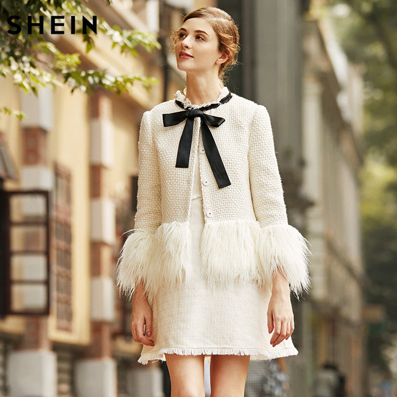 White Faux Fur Trim Tweed Blazer