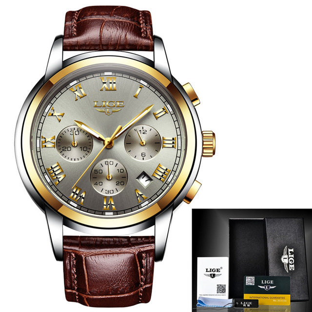 Luxury Leather Military Casual Men's Watch