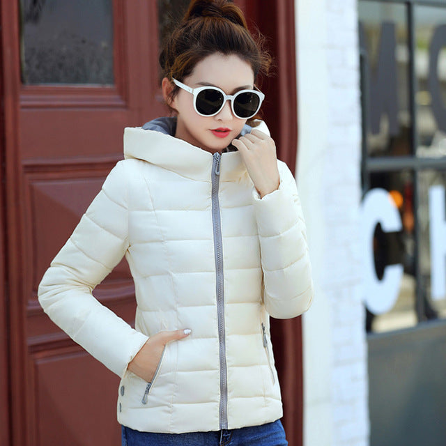 collar hooded padded jacket