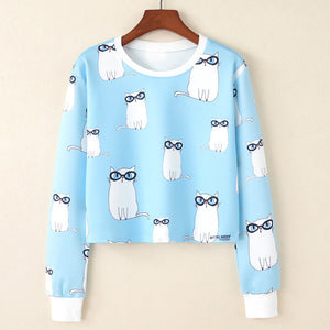 Animated Print  short Sweatshirt
