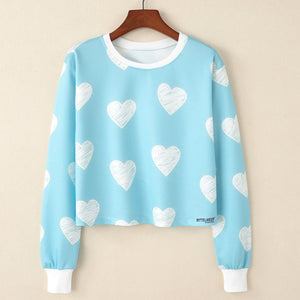 Heart Print short Sweatshirt