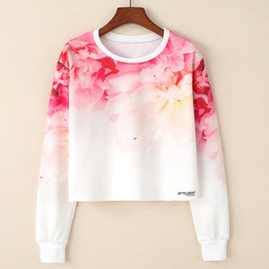 Flower Print short Sweatshirt