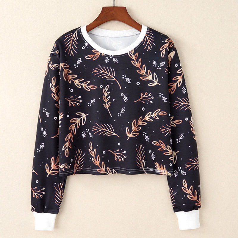 Christmas Print short Sweatshirt