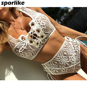 Lace High Waist Swimsuit