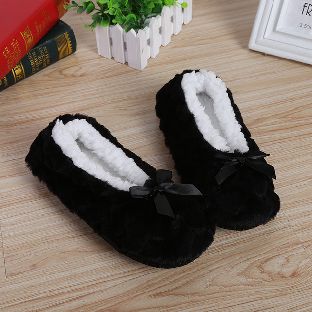 Cotton Bow-knot Fleece Slippers