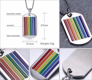 Rainbow Dog Tag Pendant Necklace