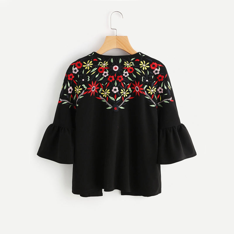 Embroidery Ruffle Bell Sleeve Blazer