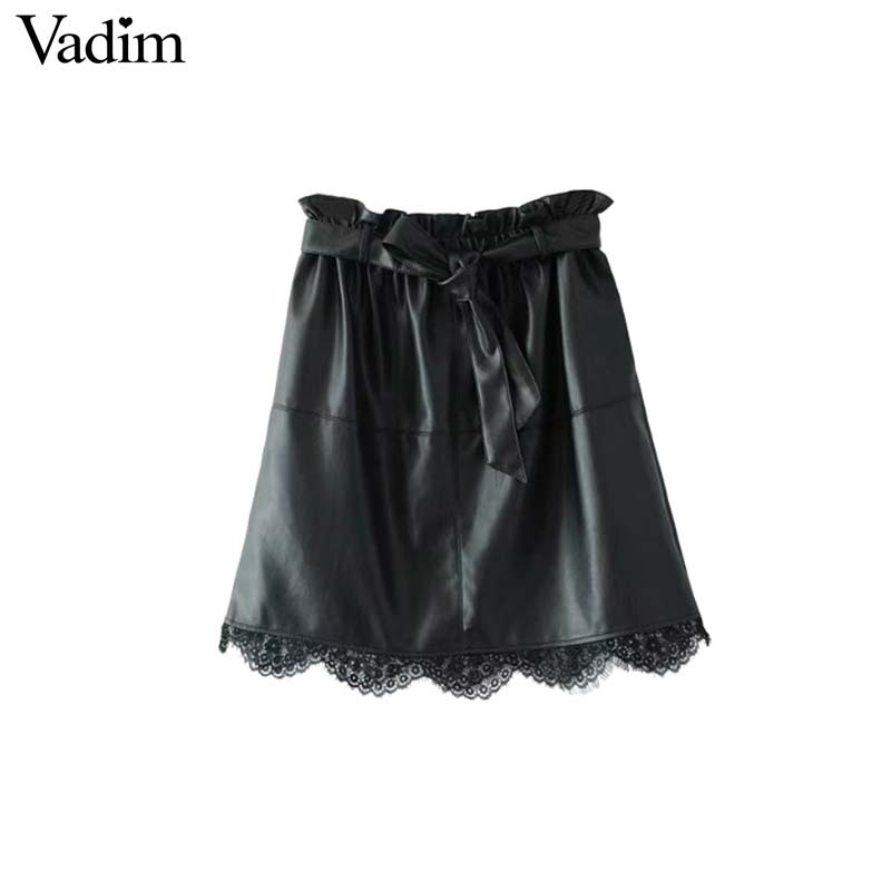Lace patchwork leather mini skirt