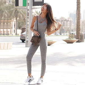 Grey  Ribbed Cage Neck  Jumpsuit