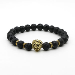 Antique Gold-Color Buddha Leo Lion Head Bracelet Black Lava Stone Beaded Bracelets For Men Women