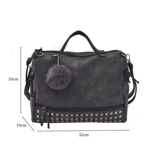 Vintage Hair Ball Leather Bag