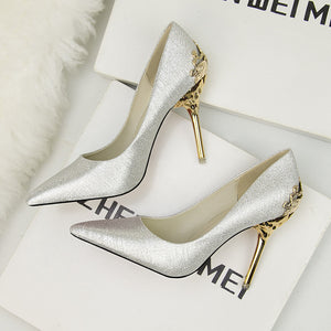 Frosted pointed high heels