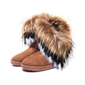 Flat Ankle Snow Fur Boots