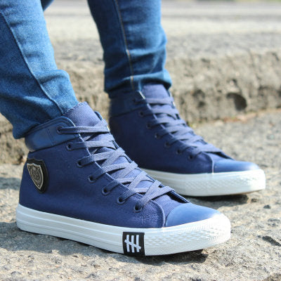 High-top Lace-up Canvas Shoes