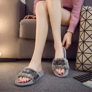 Fluffy Faux Fur Flat Casual Slipper