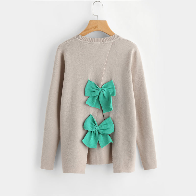 Bow Embellished Overlap Back Sweater
