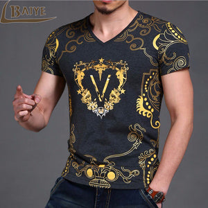 V neck Hot stamping T shirt